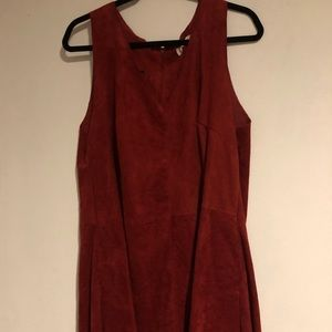 NWOT Maroon Suede Dress with POCKETS